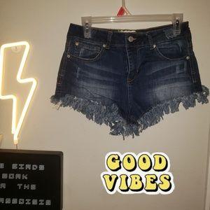 Alter'd State denim fringed distressed shorts